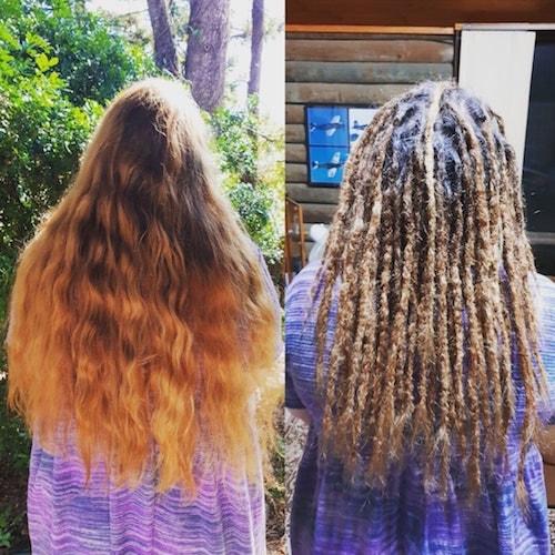 Dreadlocks installation long hair